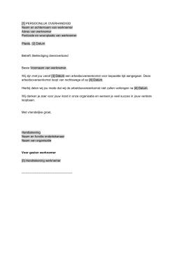 voorbeeldbrief aanzegtermijn Beëindiging arbeidsovereenkomst met opzeggingsvergoeding < 30 voorbeeldbrief aanzegtermijn