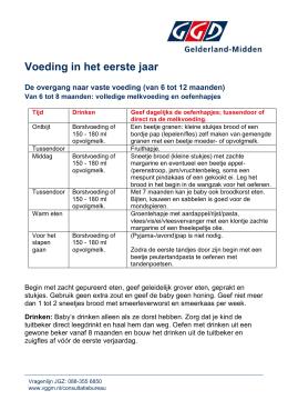 Voedingsschema Voor Babys Jgz Zuid