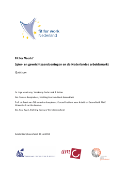 Quickscan Fit for Work? Spier- en gewrichtsaandoeningen en de