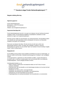 Vacature stage Fonds Gehandicaptensport