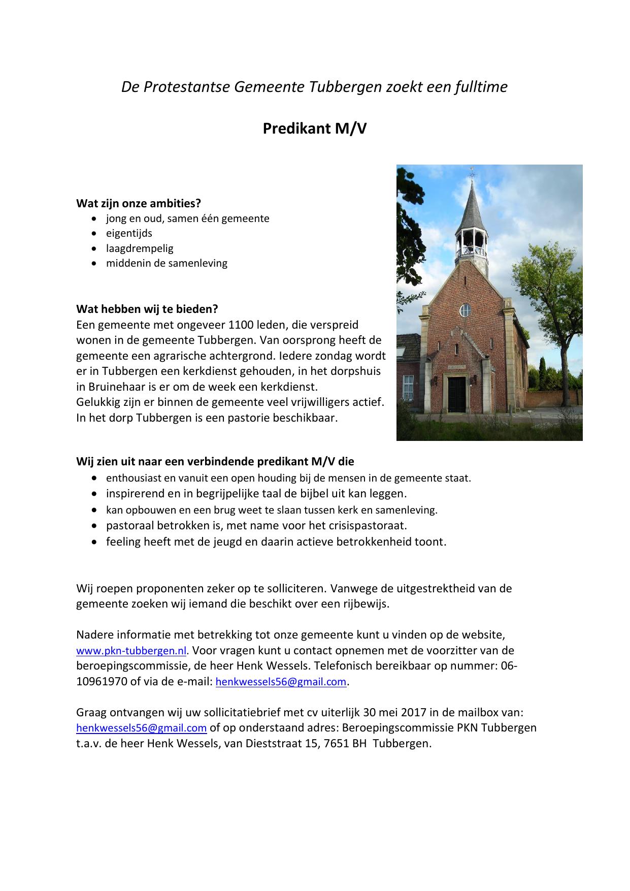 open sollicitatie gemeente De Protestantse Gemeente Tubbergen zoekt open sollicitatie gemeente