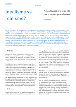 Idealisme vs. realisme Amerikaanse strategische