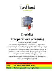Checklist Preoperatieve screening