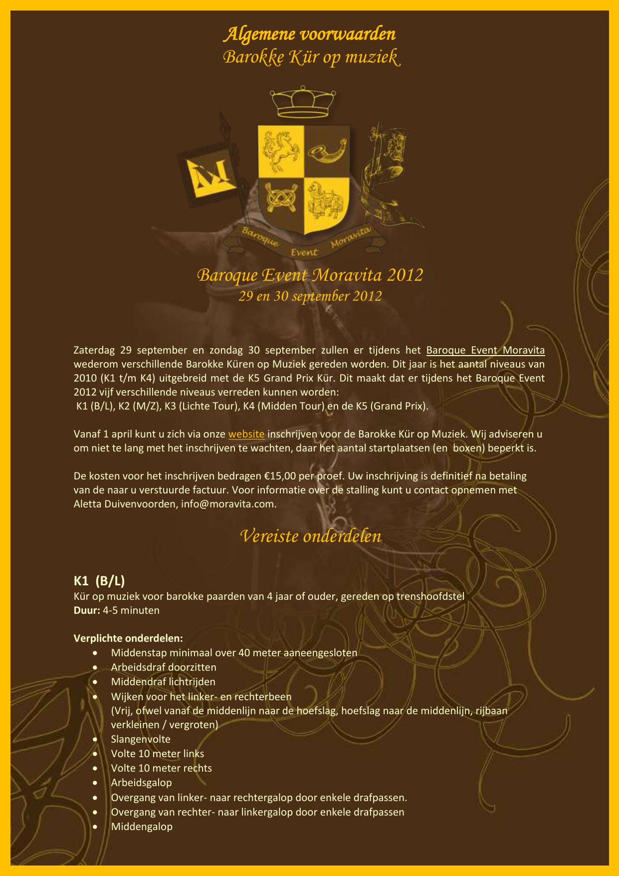Algemene voorwaarden - Baroque Event Moravita 2012