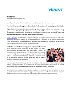 Persbericht `Verint breidt Customer Engagement