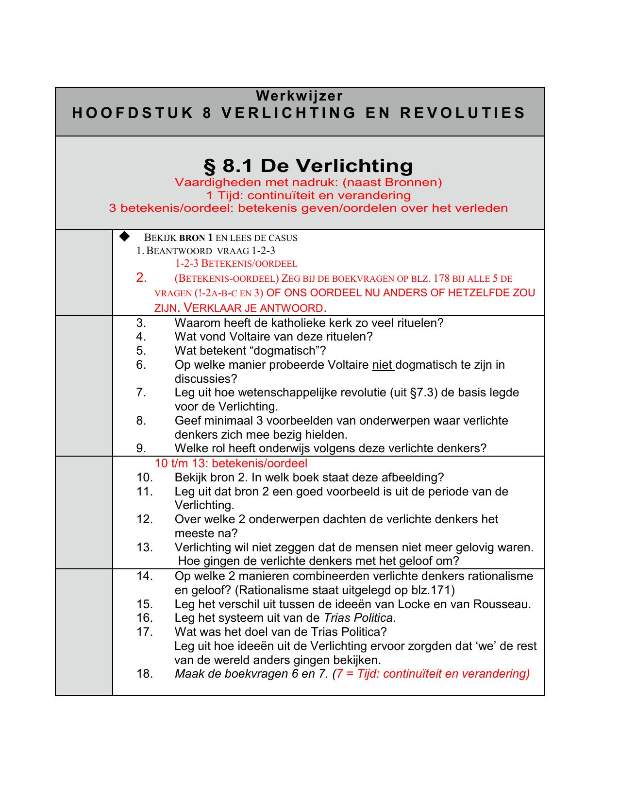 Werkwijzer HOOFDSTUK 8 VERLICHTING EN REVOLUTIES § 8.1