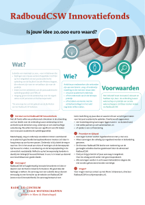 Factsheet RadboudCSW innovatiefonds