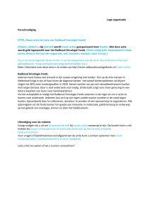 Persuitnodiging - Radboud Oncologie Fonds