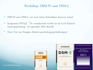 Workshop: DSM-IV naar DSM-5