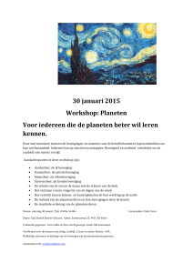 30 januari 2015 Workshop: Planeten Voor