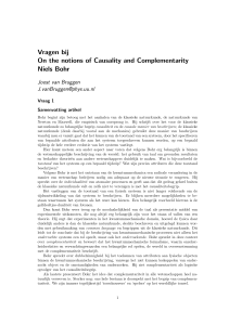 Vragen bij On the notions of Causality and Complementarity Niels