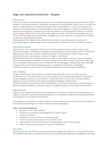 Stage User Experience Researcher – Designer Job Summary Een