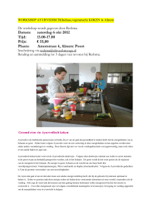 WORKSHOP AYURVEDISCH(Indiaas,vegetarisch) KOKEN in