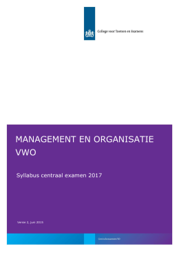 Syllabus 2017 management en organisatie, vwo