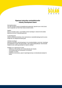 Algemene instructies nominatieformulier Industry Development