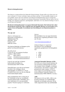 Dienstverleningsdocument Ons kantoor is gespecialiseerd in